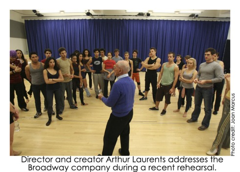 Arthur Laurents addresses the cast of West Side Story